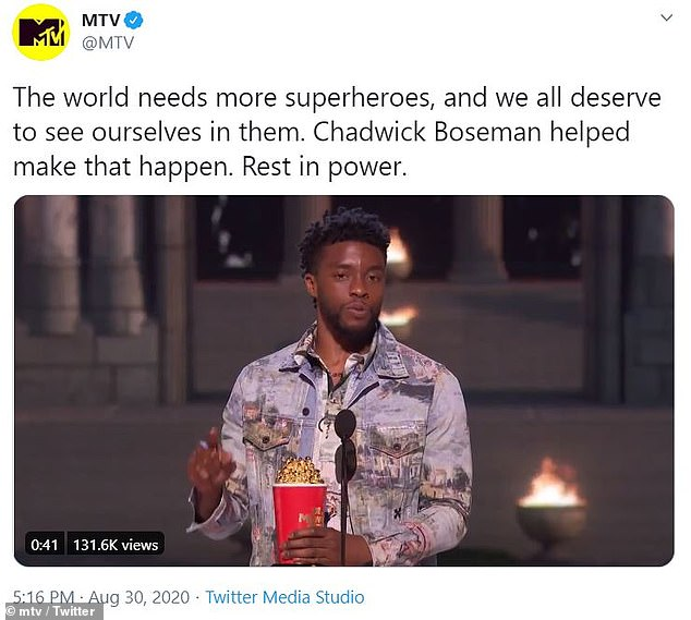 Tribute: As the world continues to mourn the Black Panther star's passing, MTV remembered the Black Panther star in a tribute (via MTV Twitter ), with the network also dedicating Sunday night's VMA telecast to the late actor