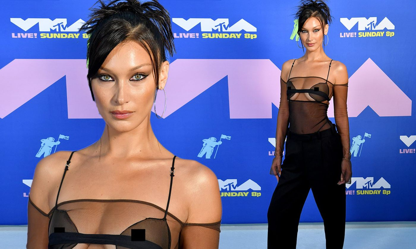 Bella Hadid leaves little to imagination in sexy sheer black to present Lady Gaga with award at VMAs | Daily Mail Online