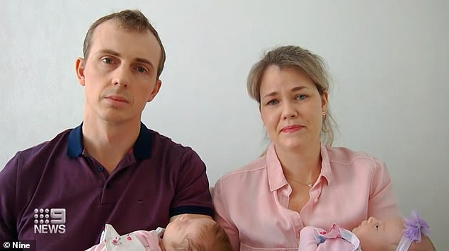 Mrs Dix explained the pair had to travel to the Ukraine during the pandemic for the birth of their twins (pictured)