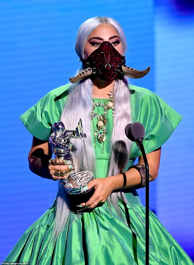 Taking the bull by the horns: Naturally, Gaga went to town when it came to wearing a variety of different masks for the event