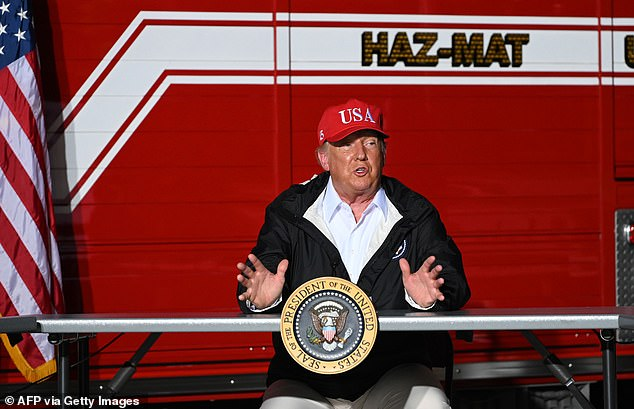 Donald Trump, pictured touring hurricane damage in Louisiana on Friday, has mocked Joe Biden's Monday return to the campaign trail, saying it is a sign of desperation