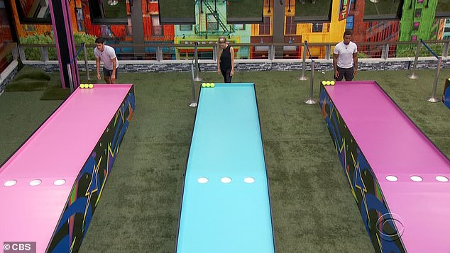 Game:The episode begins where Thursday night's episode ends, with the rest of the group playing this game where they roll tennis balls up a ramp and into three holes
