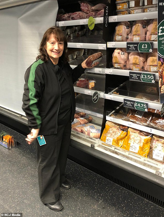 Elaine Thompson, 64, from Killingworth, north Tyneside, working at Marks & Spencer despite her lottery win 25 years ago