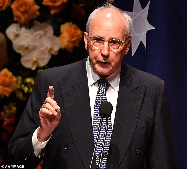 Former prime ministers Paul Keating (pictured) and Kevin Rudd have accused the government of using the pandemic to rob Australians of a compulsory superannuation increase set for 2021