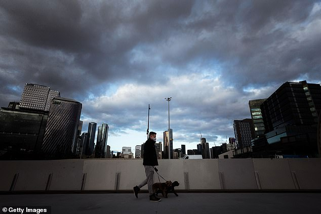 One expert says some Melbourne restrictions can be eased now such as doubling the time of daily exercise permitted to two hours. Pictured is a man walking his dog in Melbourne's Docklands precinct on Monday