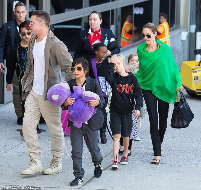 Family: Former Hollywood couple Brad and Angelina share Maddox, 19, Pax, 16, Zahara, 15, Shiloh, 14, and 12-year-old twins Vivienne and Knox (pictured in 2014)