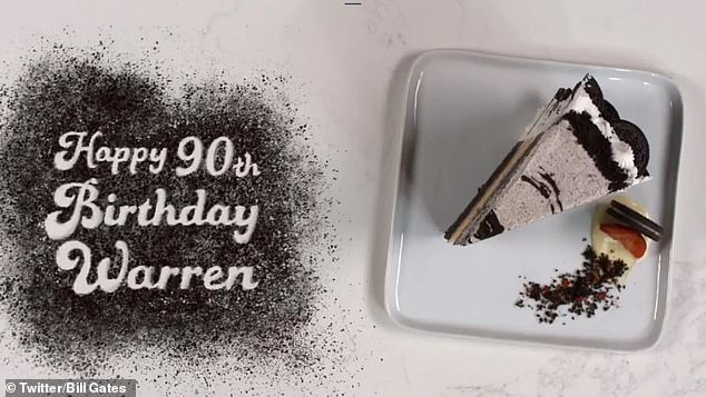 Written with Oreo cookie dust, Gates wrote, 'Happy 90th Birthday Warren' on the kitchen counter at the end of the video