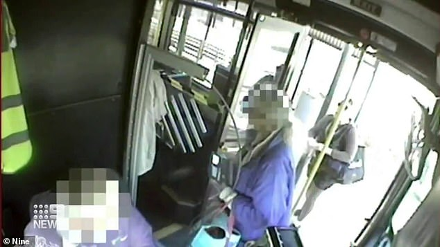 CCTV footage taken on the bus shows the 13-year-old board with a group of friends and take a seat in front of a woman wearing black clothing and sunglasses