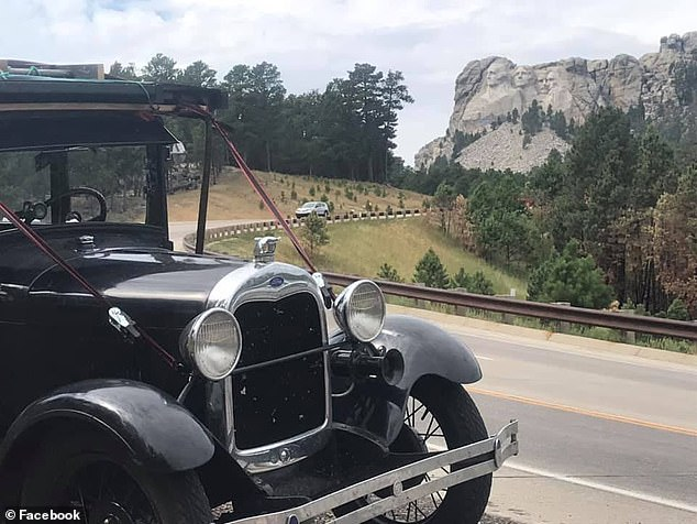 Tebo shared shots of Mt Rushmore in South Dakota (pictured) last week and also noted a few 'close calls' with elk