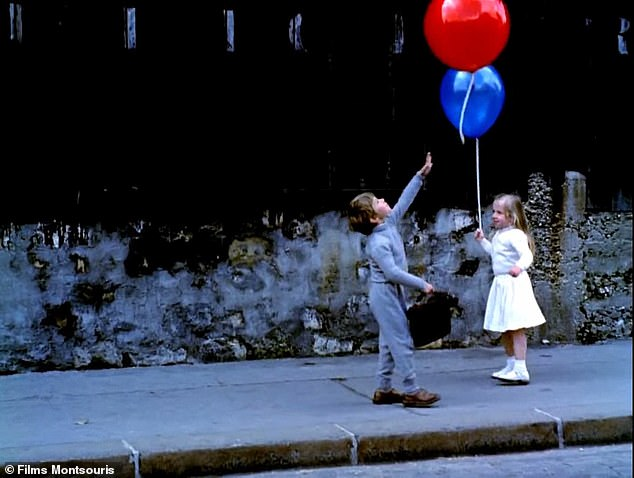 He said he was inspired to duplicate the image from the movie Le Ballon Rouge where a little boy goes floating into the sky holding onto a pack of balloons