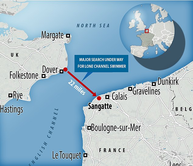 The fastest ever swim across the Channel is a little over seven hours and across the shortest route, measured at 21 miles, great care and planning must be undertaken to avoid shipping containers. The coastguard was alerted that the swim was being undertaken at 12.10pm