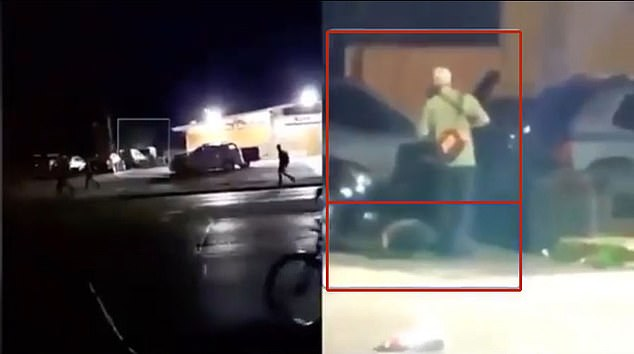 News footage shows Rittenhouse (in green shirt) during the night of August 25