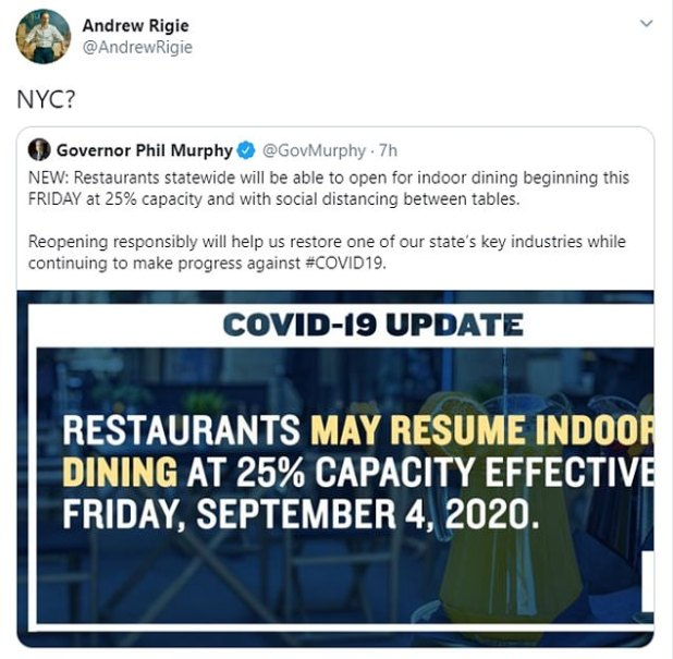 New Jersey Governor Phil Murphy said the restaurant would be allowed to reopen for indoor dining on Friday