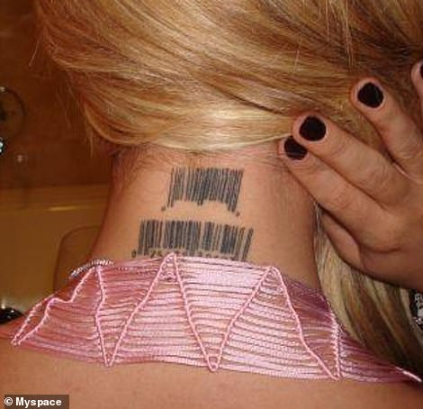 Stamped: Aubrey has previously showed off her bar code neck tattoo