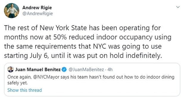 Andrew Riggi of the NYC Hospitality Alliance questioned De Blasio's question of how the city did not work to safely protect indoor food.