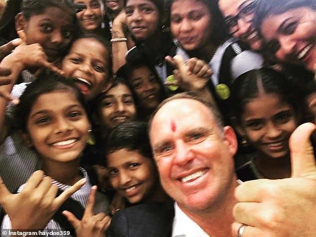 Australia wants to improve ties with India as tensions with China, the nation's largest trading partner, escalate in the wake of the coronavirus crisis. Pictured: Hayden in India