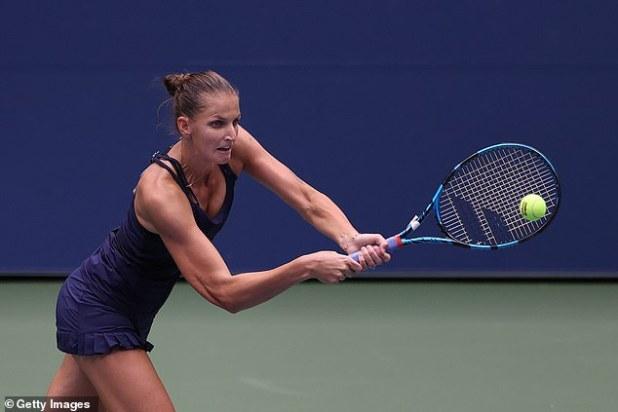 Karolina Pliskova plays forehand return during Anahelina Kalina's win in New York