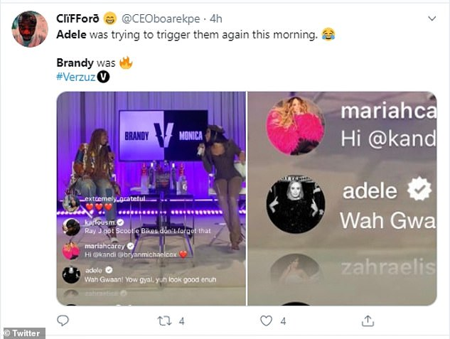 Tickled:Fans who spotted Adele's comment soon swarmed Twitter to praise her response, with users writing: 'Adele's energy is everything! Just saw her comment in the Brandy/Monica Versuz... Adele was trying to trigger them again this morning'
