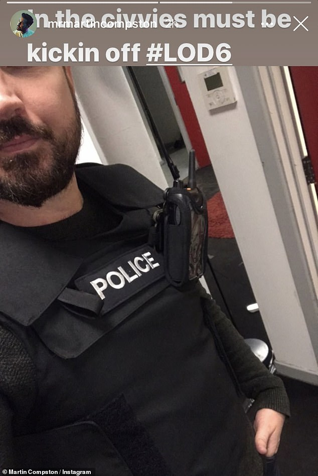 Back to it! The star also posted up a picture of himself in police uniform teasing fans: 'In The civvies, must be Line of Duty 6.'