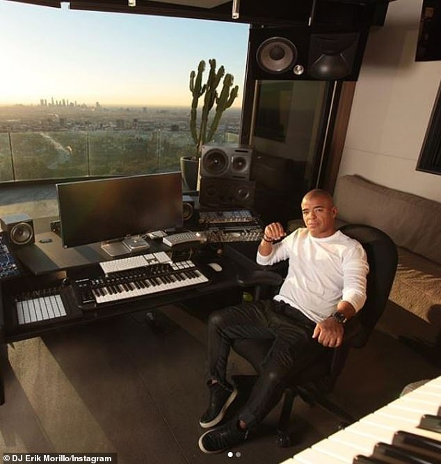 Morillo is pictured in a recording studio in a photo posted on his Instagram