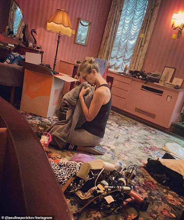 Emotional: On Tuesday, mother-of-two Paulina shared a heartbreaking photo of herself packing up Ric's belongings