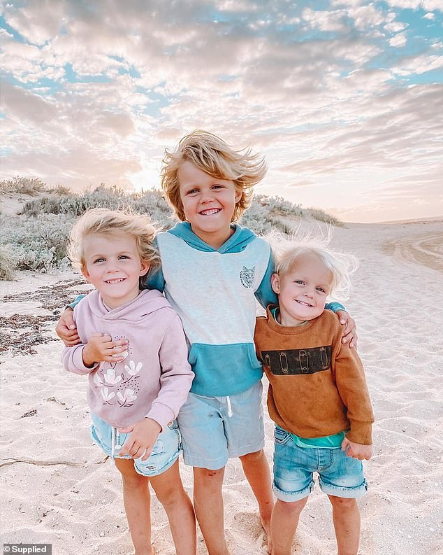 Ally and Aaron's three children (pictured) are all under the age of five and are 'always outside' playing with each other or other kids. The family's favourite spot is by the beach