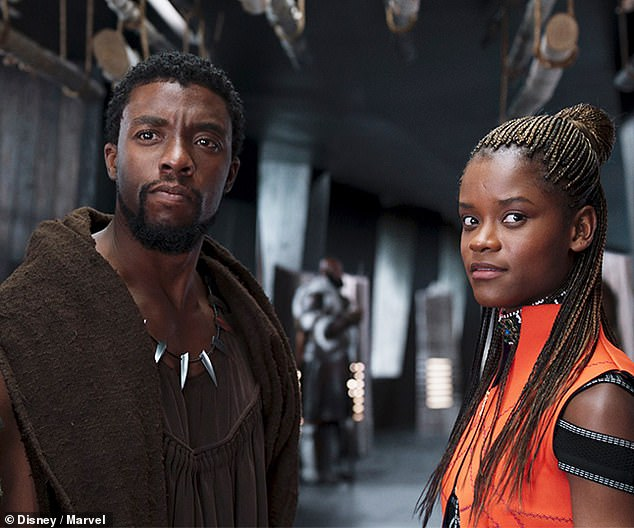 A vack look: Wright who played King T'Challa Shuri's sister in the 2018 hit movie Black Panther