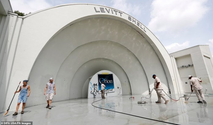 Vandals also hit the Levitt Shell concert hall in Overton Park, spray painting scribbled obscenities including