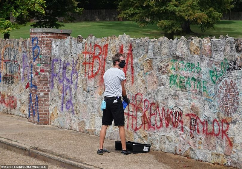The spray-painted lettering covered thousands of tributes to Elvis written by fans who have visited the King¿s home since it officially became a museum in 1982