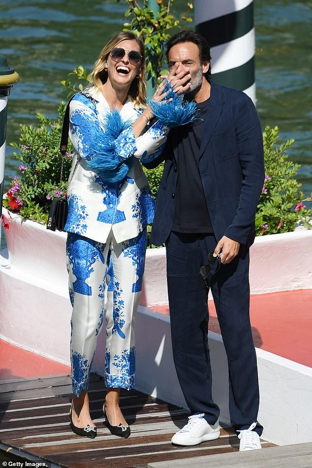 Joking around: Anthony and Italian actress Sveva Alviti put on an animated display