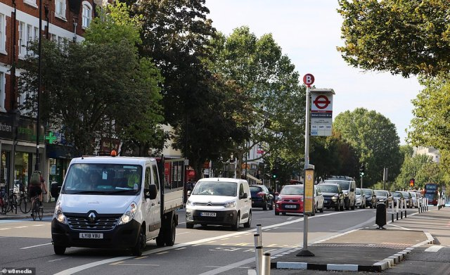 Cars queue on Balham High Road in South London at 10.30am today, an area badly blighted by traffic in recent weeks