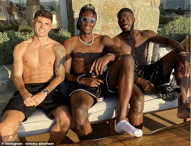 Chelsea players Christian Pulisic (left), Tammy Abraham (center) and Fikayo Tomori (right) have been placed in isolation after a break in Mykynos in Greece