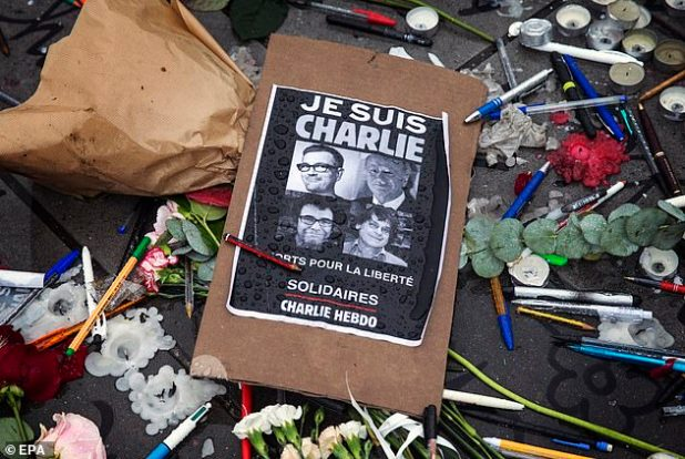 The message of solidarity with Charlie Hebdo - the popular slogan 'Jae Suis Charlie' (meaning 'I am Charlie') - placed in Paris after the attack in 2015
