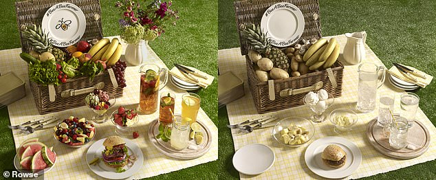 Honey manufacturer Rowse has created thought-provoking images to highlight the effect a world without bees would have on Briton's much-loved picnic favourites. Pictured left, with bees, and right, without