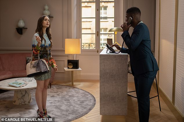 The trailer for the ten episode series dropped earlier this week, fans were quick to compare it to other shows about glamorous young women working in fashion. Emily (Lily Collins) is pictured with Luke played by Samuel Arnold