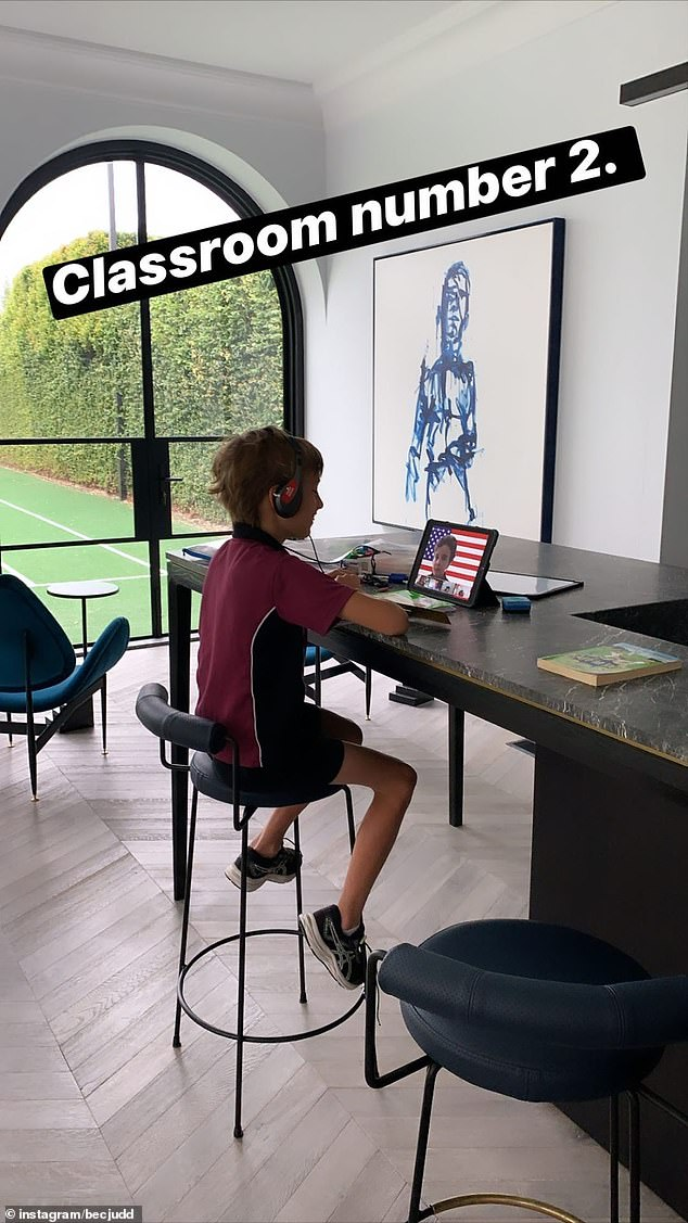 Bec Judd's version of home schooling while hectic, is probably more pleasant than how many other Melburnians are doing it