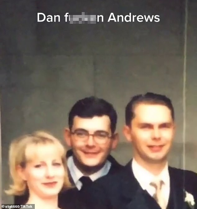 Footage shows the man zooming into the photo to show his father, mother and then a much younger Mr Andrews