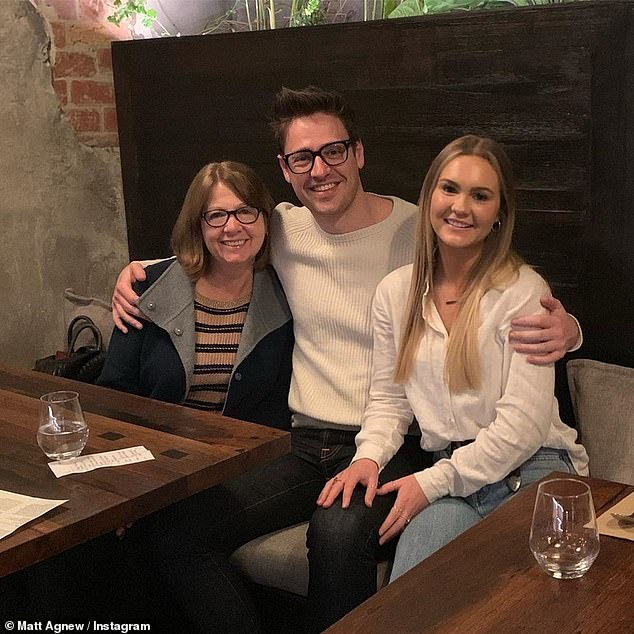 Brutal:Astrophysicist Matt and chemical engineer Chelsie unexpectedly announced their breakup in November last year, just six weeks after The Bachelor finale had aired on TV. They are pictured here with Matt's mother