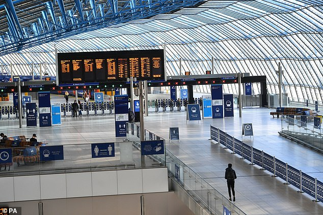 The concourse at London Waterloo station was very quiet during rush hour yesterday morning