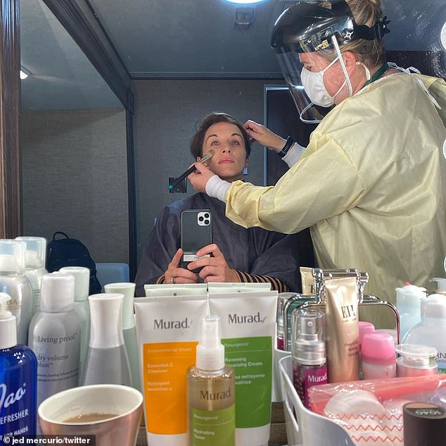 Glam: A photo was also shared of the star getting her makeup done, with the glam squad well protected in full PPE