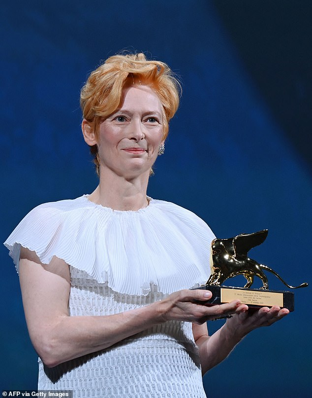 Speech:Tilda honoured the late actor Chadwick Boseman as she accepted an award at the Venice International Film Festival by proclaiming 'Wakanda forever' on stage on Wednesday