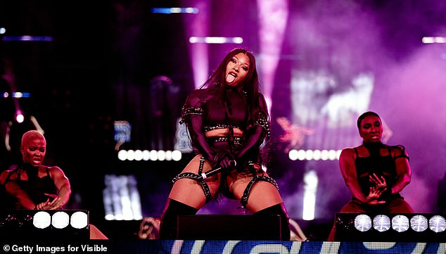 Night to remember: Megan knew how to command attention on stage as she gave fans a performance to remember and twerked with her backing dancers to her hit single WAP