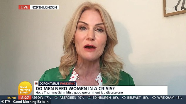 Helle, 53, claimed that male leaders such as Boris Johnson and Donald Trump have 'failed' during the crisis, as they didn't have a 'good cocktail of decision making'