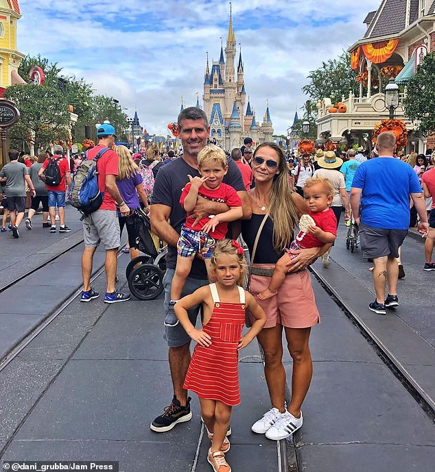 Camilla (pictured with her husband and children at a Disney resort) said they were surprised how quickly their son picked up the skill - something which people much older than him struggle to master