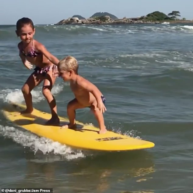 It would seem that surfing talent is very much in the blood of the family. As well as perfecting his own skills, Joao also catches the waves with his older sisterMaria Clara, six