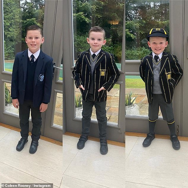 Sweet: Coleen was every inch the proud mum as she took to Instagram to share a photo of Kai, 10, Klay, seven, and Kit, four, posing in their uniforms before doing the school run