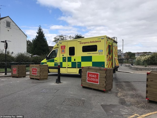 The London Ambulance Service had not been given keys to the new barriers when they were called to the incident on Saturday afternoon, three days after the new bollards and flower beds were put up by Ealing Council