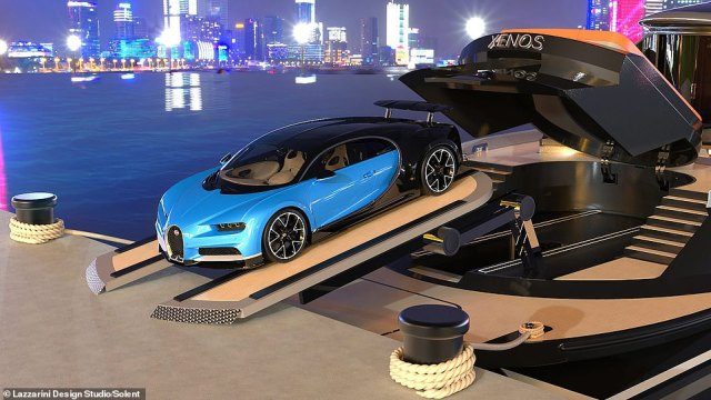 It is planned to house the Bugatti in an on-deck garage so owners can simply drive into the harbour