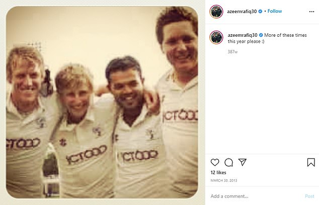 Rafiq (centre right) poses for a picture with former team-mate Joe Root (centre left)