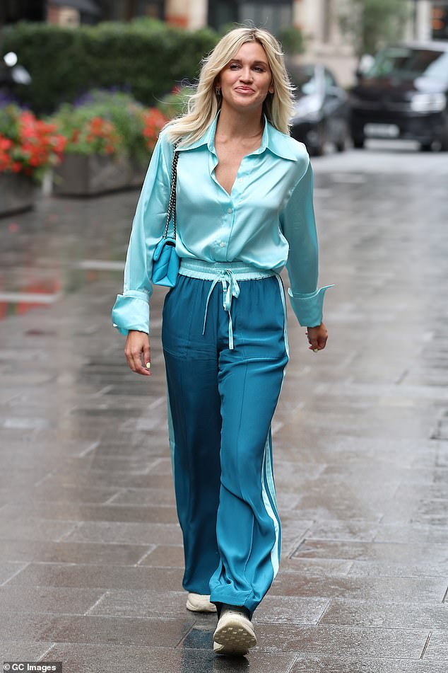 Looking good: Ashley Roberts looked a vision in blue as she made a stylish exit from work at Heart FM in London's Global Studios on Thursday